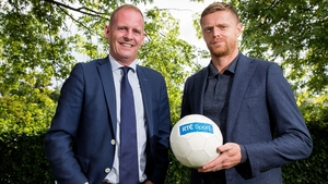 RTÉ Group Head of Sport Ryle Nugent and Damien Duff (R) at the announcement of the new rights deals