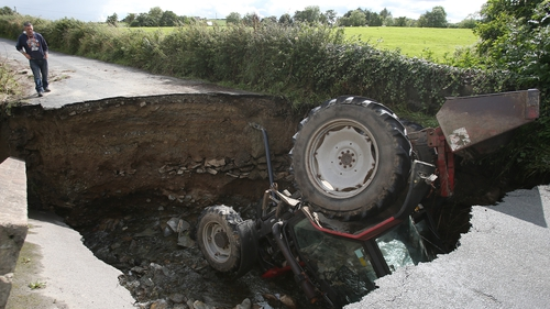 Dig your own hole: a tractor in a sinkhole at Isakeen in Co Donegal in 2017