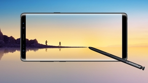 "The Note 8 has a 6.3 inch Quad HD+ Super AMOLED screen with curved ""Infinity Display"" edges"