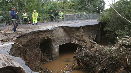 A collapsed road at Quigley's Point following last week's heavy rain which left widespread damage on the Inishowen Peninsula