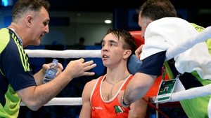 Billy Walsh in Michael Conlan's corner at the World Championships in 2015