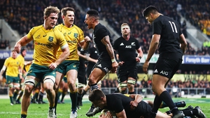 Beauden Barrett goes over for the all important try