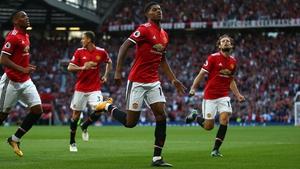 Manchester United's Marcus Rashford celebrates their first goal
