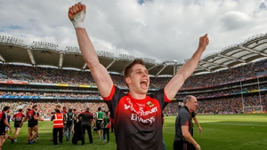 Mayo's Lee Keegan celebrates after the game