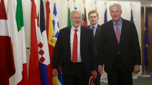 UK Labour leader Jeremy Corbyn alongside the EU's chief Brexit negotiator Michel Barnier