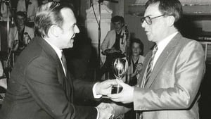 Dave Gold (right) receiving one of three awards at the BBC Radio 2 Big Band competition circa 1986.