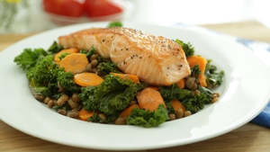 Seared salmon and lentil veg sauté: OT