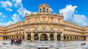 Famous historic Plaza Mayor in Salamanca, Castilla y Leon, Spain