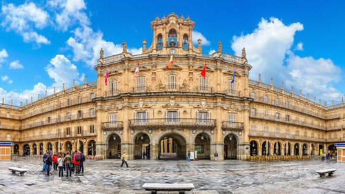 Famous historic Plaza Mayor in Salamanca, Castilla y Leon, Spain