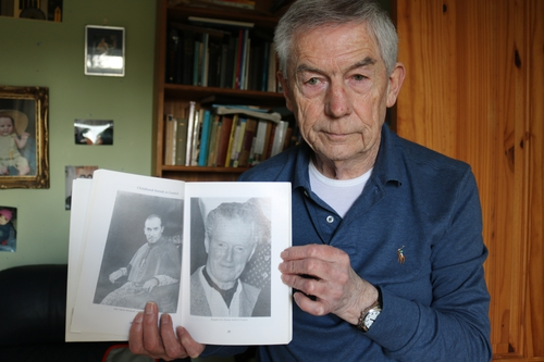 Cootehill historian, Hugh O'Brien, with  pictures of childhood friends, Eric Dorman-O'Gowan and John Charles McQuaid