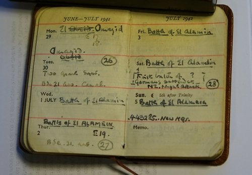 Eric's diary referring to the  Battle of Alamein