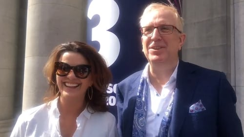 "Rory Cowan with Gogglebox Ireland co-narrator Deirdre O'Kane - ""It was actually doing Gogglebox that made me realise that there was other stuff apart from Mrs Brown's Boys that I could be doing"""