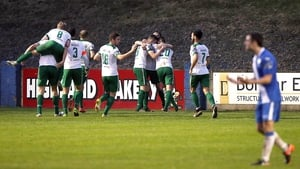 Cork City players celebrating after the only goal against Finn Harps