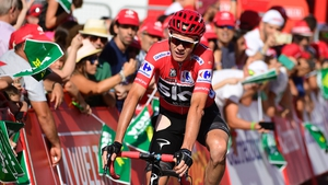 Chris Froome finishing Stage 12 after crashing into a bend