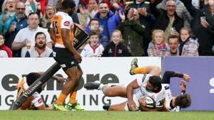 Ulster's Charles Piutau scores a try against the Cheetahs