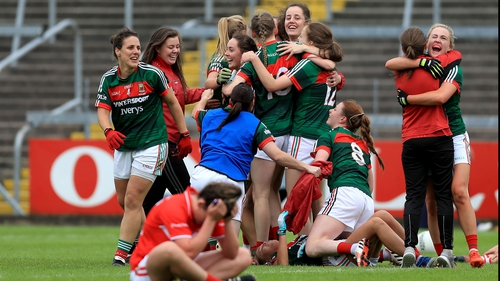 Mayo players celebrate their win over Cork