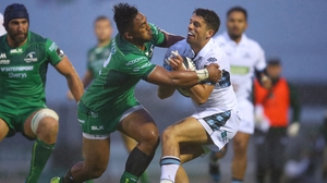 Connacht's Bundee Aki tackles Adam Hastings of Glasgow