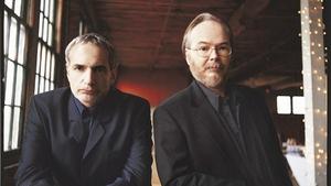 Walter Becker right) with Donald Fagen, Steely Dan's founding members