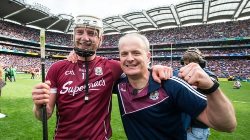 Joe Canning and Micheál Donoghue (R) celebrate Galway's All-Ireland final win in 2017