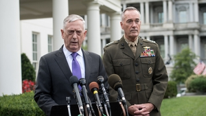 US Defense Secretary James Mattis and General Joseph Dunford, chairman of the Joint Chiefs of Staff, speak to the press at the White House