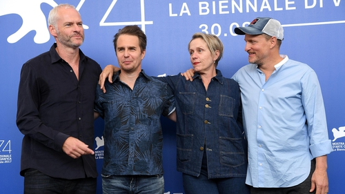 Woody Harrelson, far right, and his fellow Billboards stars , with director Martin McDonagh, left