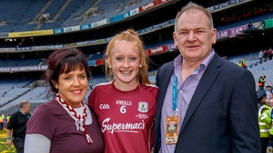 Shannon Keady (C), pictured with her mother Margaret and Pete Finnerty after Sunday's victory