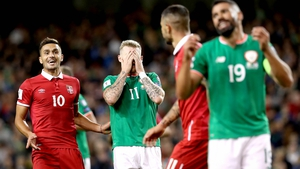 James McClean reacts during Ireland's frustrating loss to Serbia