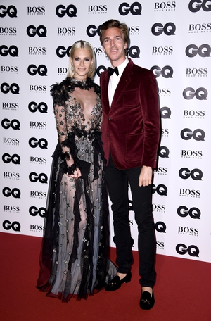 Poppy Delevigne wore a stunning Reem Acra gown while James Cook wore a funky Gucci suit.