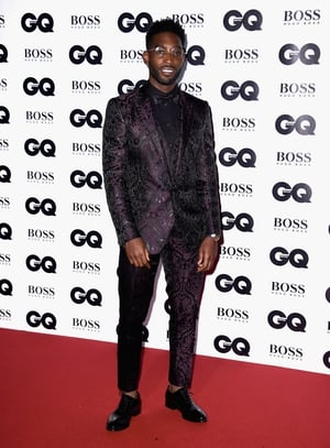 Tinie Tempah wore a deep purple Dolce and Gabbana tux.