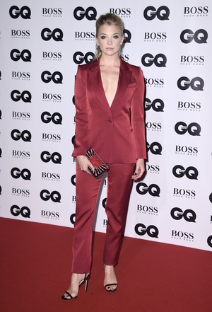 Game of Thrones actress Natalie Dormer wore a Prabal Gurung Gall 2017 suit with a small clutch and strappy heels.