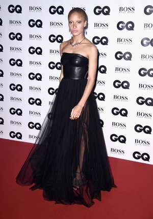Adwoa Aboah won 'Woman of the Year' while wearing an edzy Hugo Boss gown made of leather and tulle.
