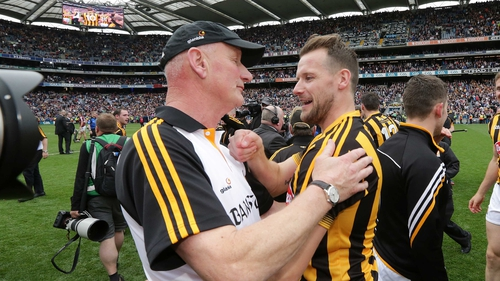 Brian Cody and Jackie Tyrrell celebrate another All-Ireland success