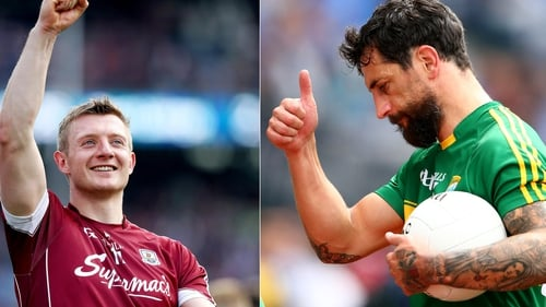 Joe Canning (l) got some words of encouragement from four-time All-Ireland winner Paul Galvin