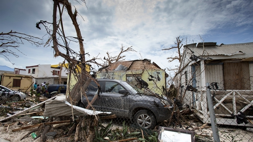 Houses and cars damaged after the passage of Irma on the Dutch Caribbean island of Saint Maarten