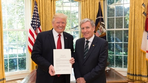 Us President Donald Trump and Ambassador Dan Mulhall
