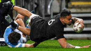 New Zealand's Vaea Fifita scores a try