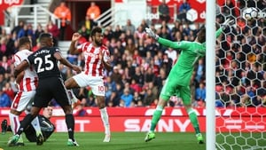 Maxim Choupo-Moting of Stoke City scores his and his side's second goal