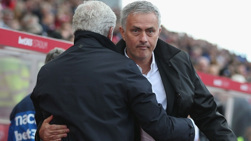 Mark Hughes was not amused with Jose Mourinho after Stoke's clash with Manchester United