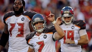Pat Murray (C) after kicking his first ever NFL field goal for the Tampa Bay Buccaneers in 2014