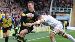 George North of Northampton is tackled by Dominic Ryan