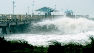 Large waves produced by Hurricane Irma crash into the end of Anglins Fishing Pier in Fort Lauderdale, Florida
