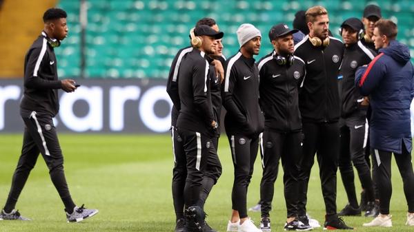 Paris Saint Germain's Neymar on the Celtic Park pitch