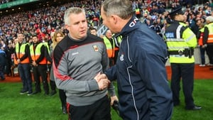 Mayo manager Stephen Rochford and manager Jim Gavin of Dublin after last year's final