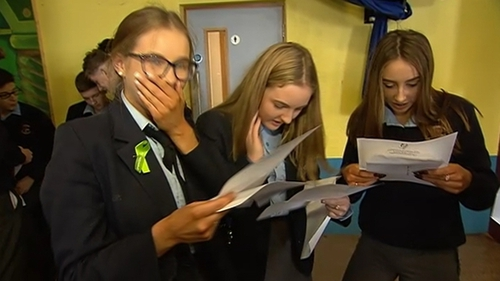 Students in Carndonagh, Co Donegal react to their Junior Cert results