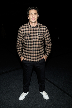 Actor James Franco poses backstage for Coach Spring 2018 fashion show.