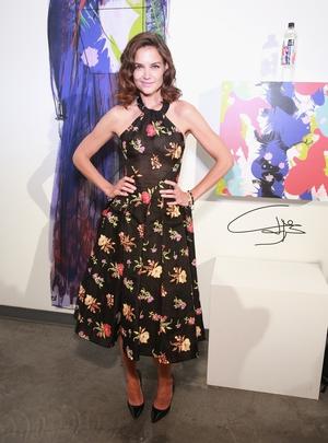 Katie Holmes attends Adam Dalton Blake, Tiffany Huang, Ghazaleh Khalifeh Front Row during New York Fashion.