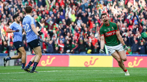 Lee Keegan celebrates after scoring a first-half goal in the 2016 All-Ireland football replay