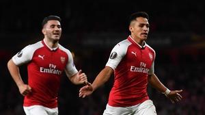 Alexis Sanchez celebrates scoring Arsenal's second goal
