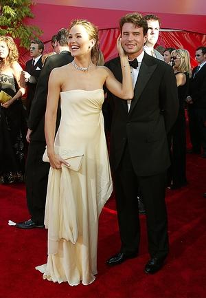 Jennifer Garner and Scott Foley at the Emmys in 2002. Jennifer wore a strapless Ralph Lauren dress and diamond necklace.