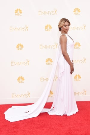 Laverne Cox shone in this white Marc Bouwer gown in 2014
